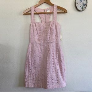 Ali Ro Pink Lace Embroidered Eyelet Dress